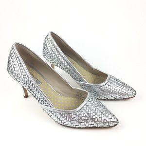 Boden Silver Metallic Woven Heel Pumps
